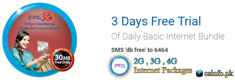 Zong 3 Days Free Trial Get Free Daily Basic Internet Bundle